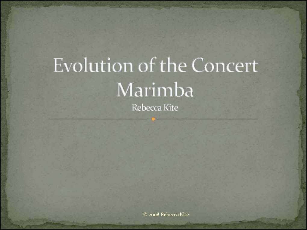 evolution of the concert marimba cover